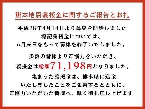 熊本地震の被災者の方々にお悔やみとお見舞いを申し上げます